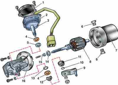 схема мотора стеклоочистителя